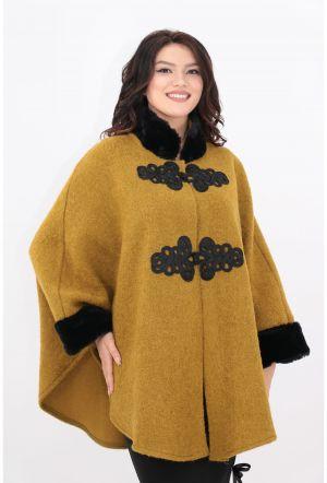 Modă special pentru pantofi vânzare cu amănuntul Poncho din stofa groasa olive cu blanita neagra - Geci si Paltoane Femei -  Poncho Femei